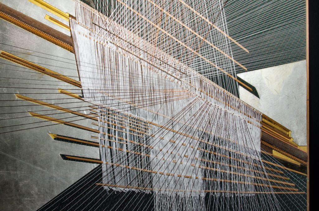 maquina de tejer en fabrica de telas